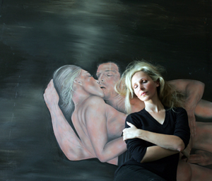 "Dream, Oil on Canvas + Patricia Fiorent in Studio [August 2007] 160 x 154 cm / 63"" x 61"""